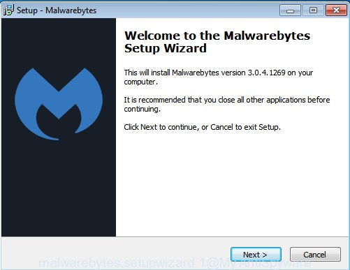 MalwareBytes Anti-Malware (MBAM) for Windows set up wizard
