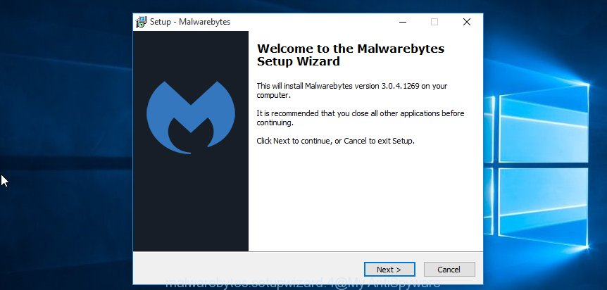 MalwareBytes Anti Malware (MBAM) for Windows setup wizard