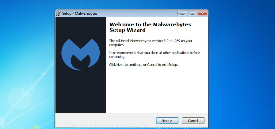 MalwareBytes AntiMalware for MS Windows setup wizard