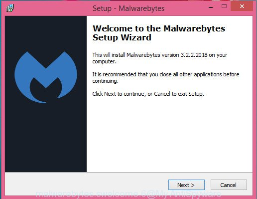MalwareBytes AntiMalware (MBAM) for Windows install wizard