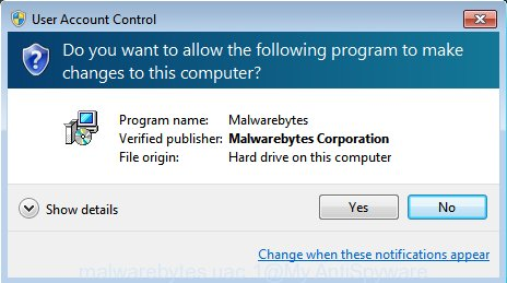 MalwareBytes for Microsoft Windows uac dialog box