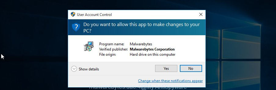 MalwareBytes Anti-Malware for MS Windows uac dialog box