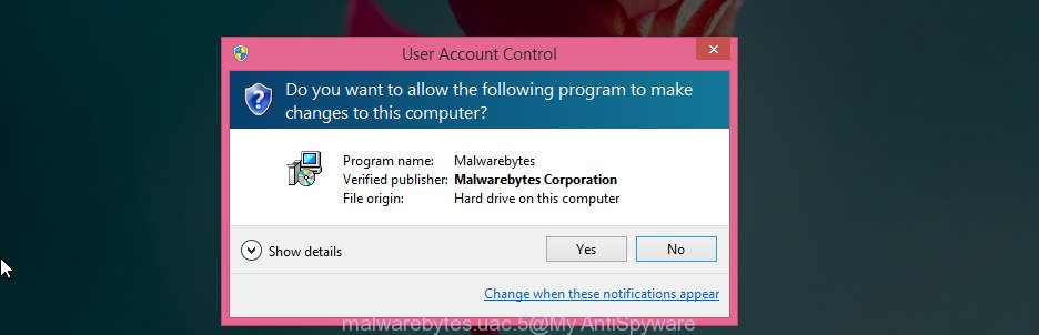 MalwareBytes Free for MS Windows uac dialog box