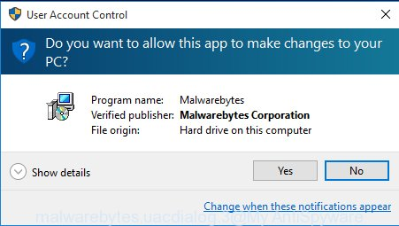 MalwareBytes Free for MS Windows uac prompt