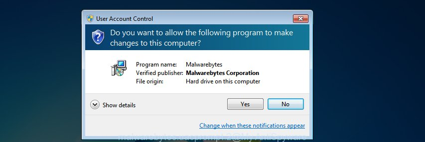 MalwareBytes AntiMalware for MS Windows uac dialog box