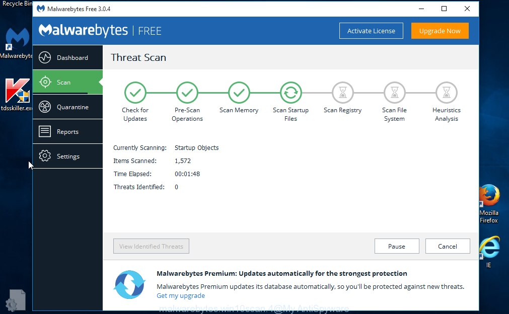 MalwareBytes Free for Windows search for PUP.MindSpark/Variant and other kinds of potential threats like malicious software and PUPs