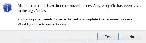 MalwareBytes Anti Malware (MBAM) for MS Windows reboot prompt