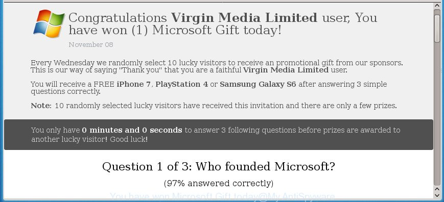 You have won (1) Microsoft Gift today