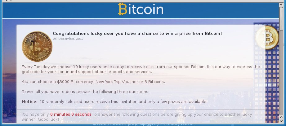 Bitcoin scam pop-up
