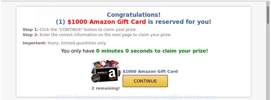 $1000 Amazon Gift Card is reserved for you