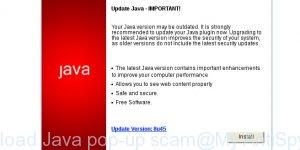 Download Java pop-up scam