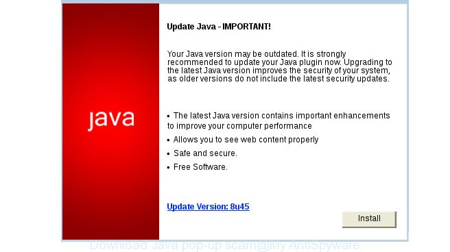 Download Java pop-up scam
