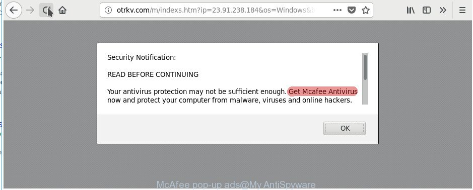 McAfee pop-up ads