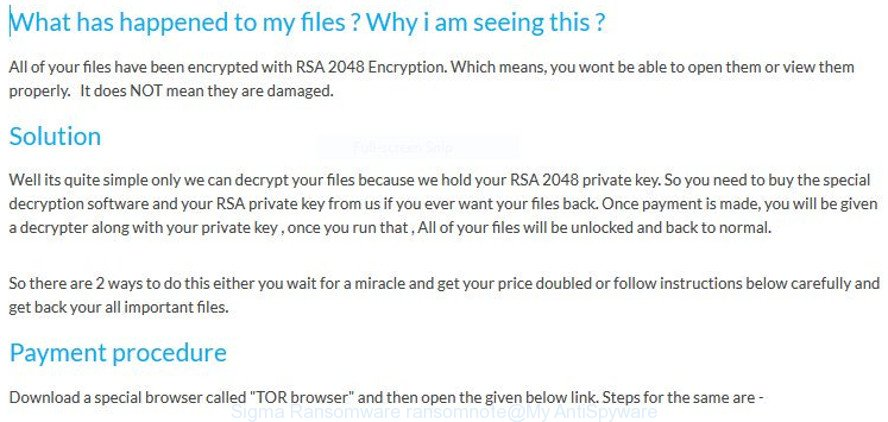 Remove Sigma Ransomware virus (Restore encrypted files)