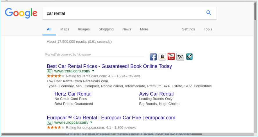 Fake ads in Google search results