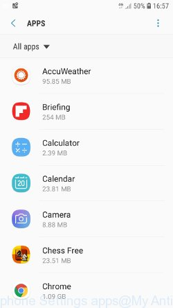 Android phone Settings - apps