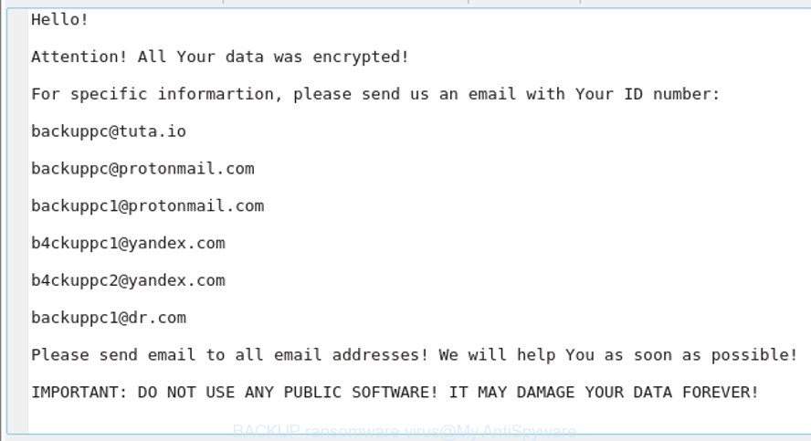 BACKUP ransomware virus