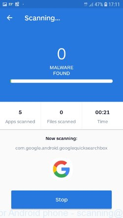 Malwarebytes for Android phone - scanning