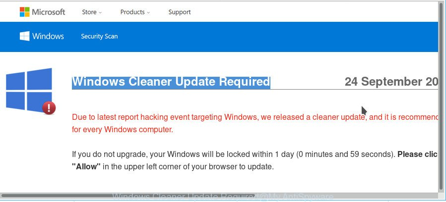 Windows Cleaner Update Required
