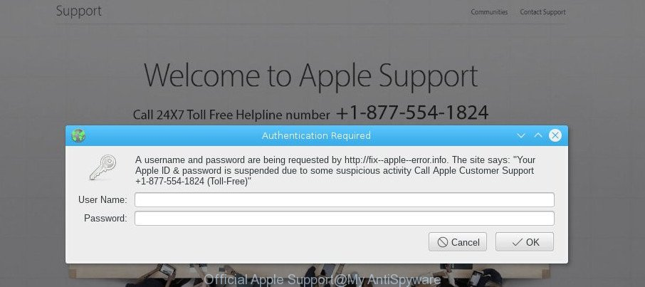 Official Apple Support pop-up scam