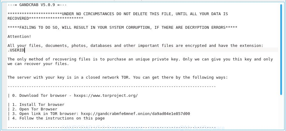 GANDCRAB V5.0.9 ransomware - ransomnote