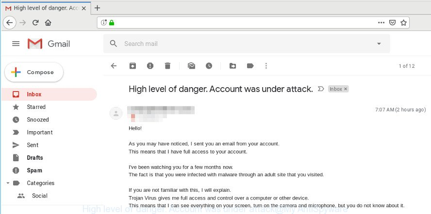 High level of danger. Account was under attack