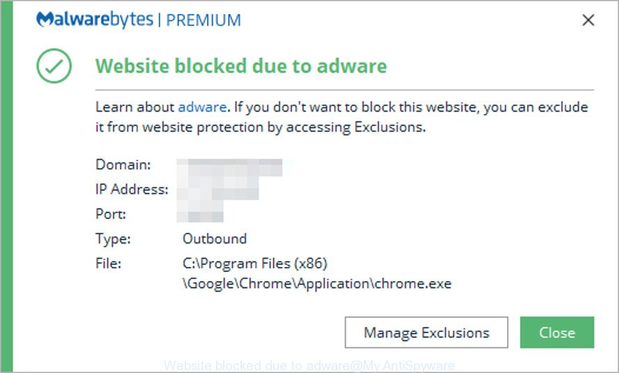 Website blocked due to adware