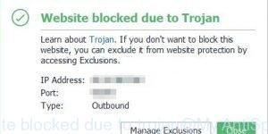 Website blocked due to trojan