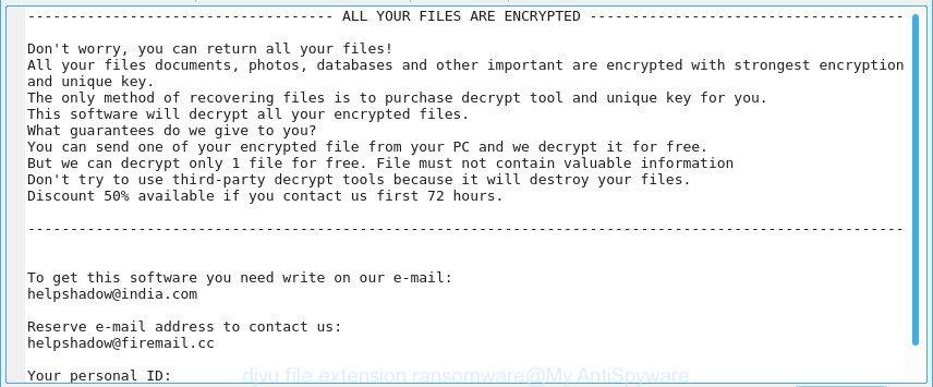 """djvu ransomware"" - ransom note"