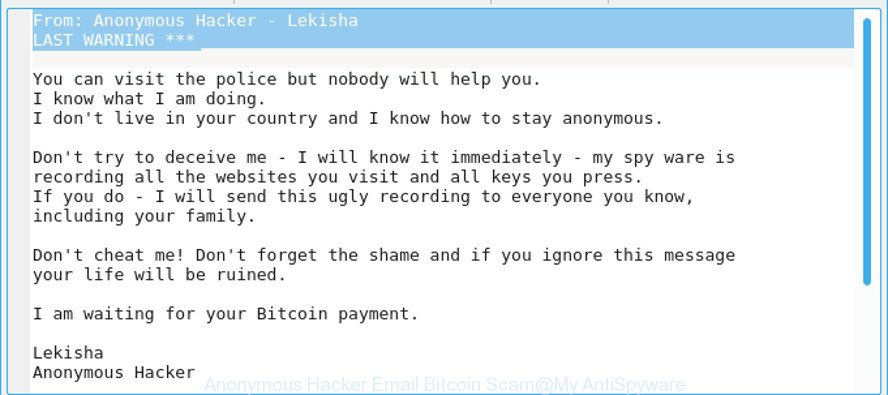 Anonymous Hacker Email Bitcoin Scam