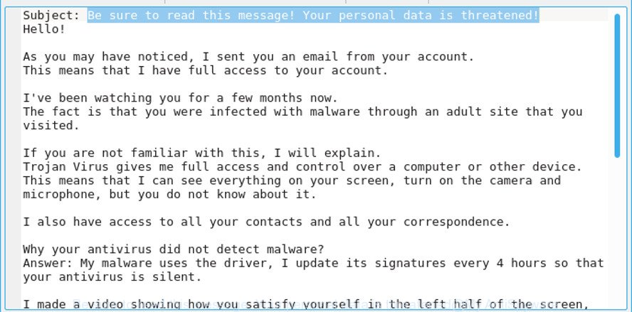 Be sure to read this message! Your personal data is threatened!