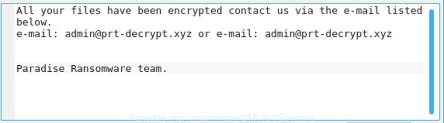Paradise xyz ransomware
