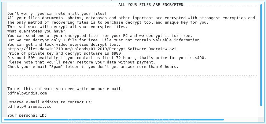 Rumba Ransomware ransom note