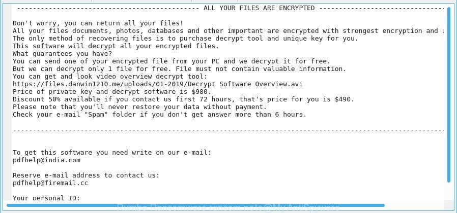 Rumba Ransomware ransom note