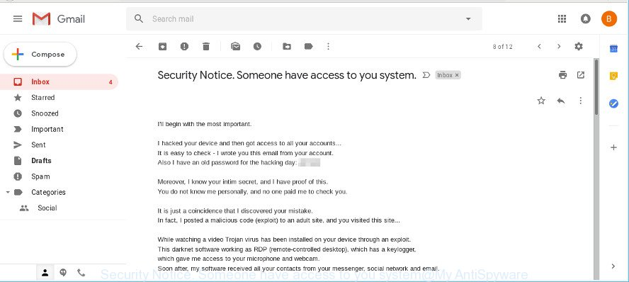 Security Notice. Someone have access to you system