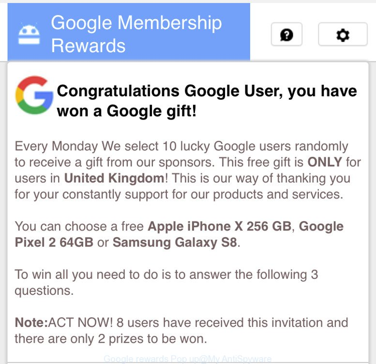 Google rewards Pop up
