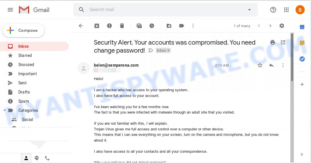 Security Alert. Your accounts was compromised. You need change password!