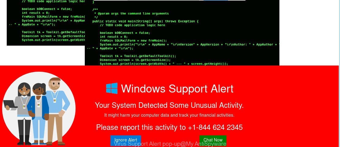 Virus Support Alert pop-up