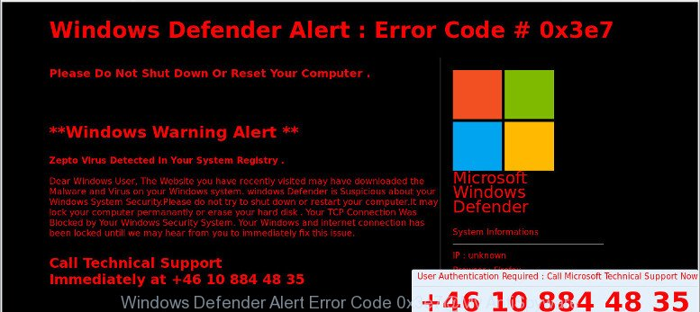 Windows Defender Alert : Error Code # 0x3e7