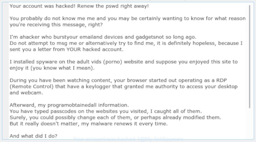 Another variant of 'Your account was hacked' scam