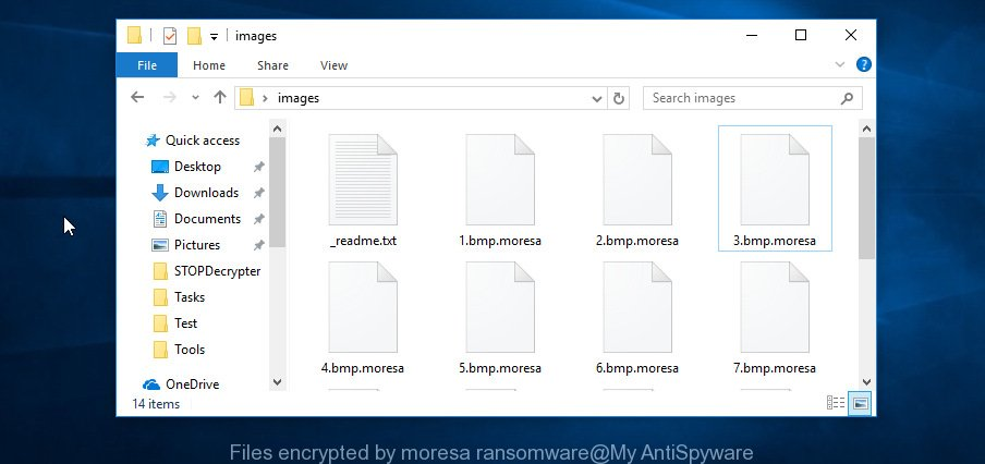 Files encrypted by moresa ransomware