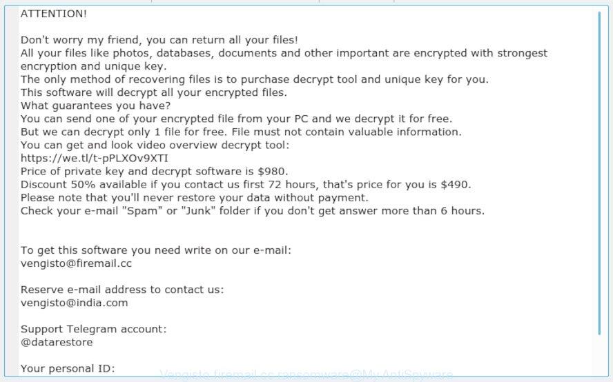 Vengisto@firemail.cc ransomware