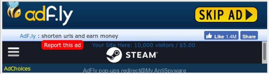 AdFly pop-ups redirect
