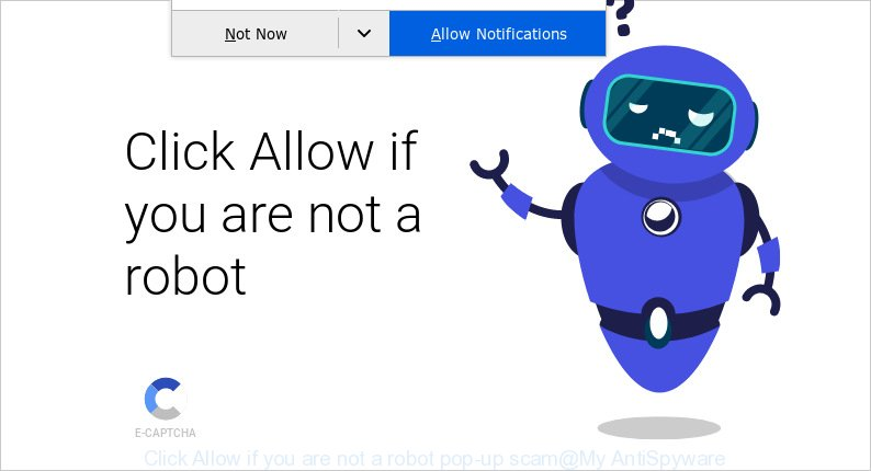 Click Allow if you are not a robot pop-up scam