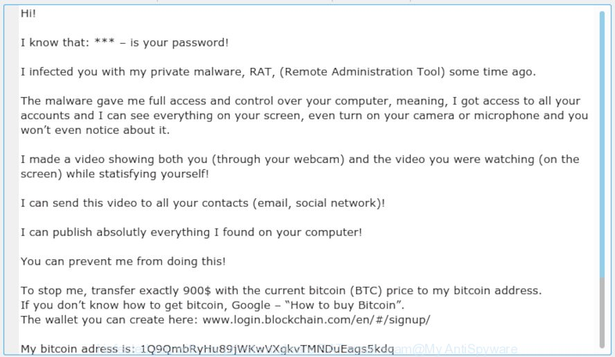 I infected you with my private malware (RAT) EMAIL SCAM