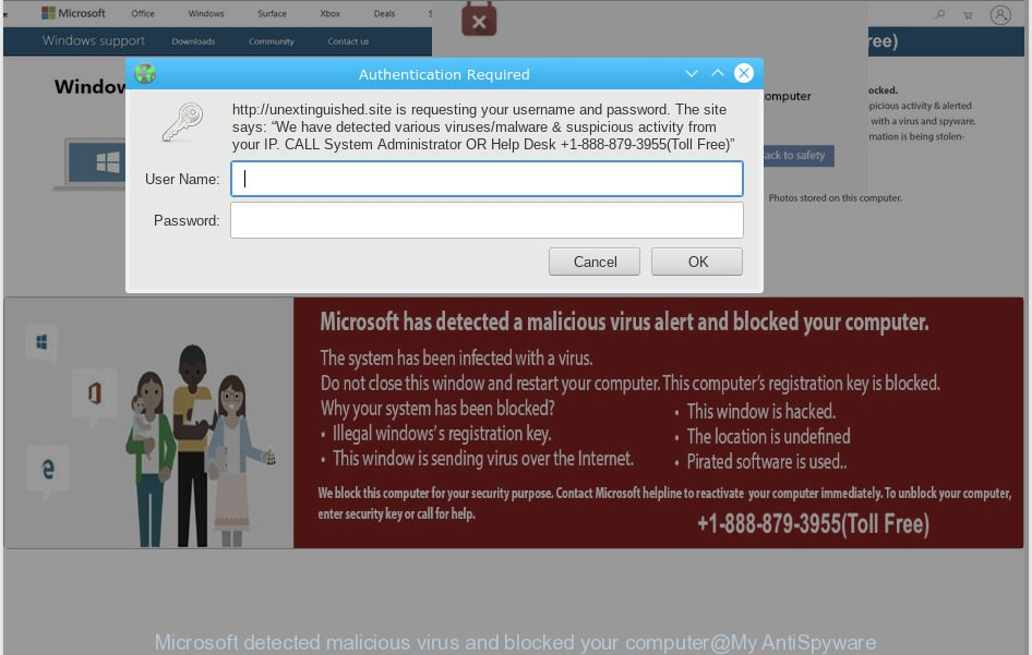 Microsoft detected malicious virus and blocked your computer