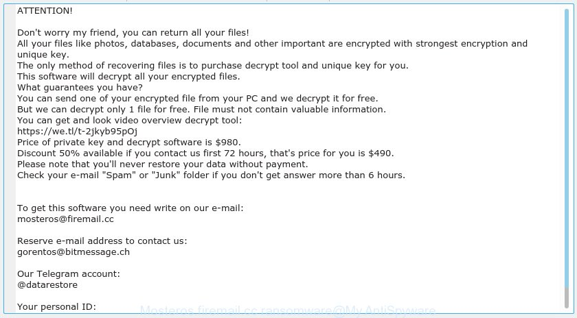 Mosteros@firemail.cc ransomware