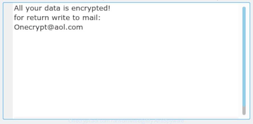 Onecrypt@aol.com ransomware