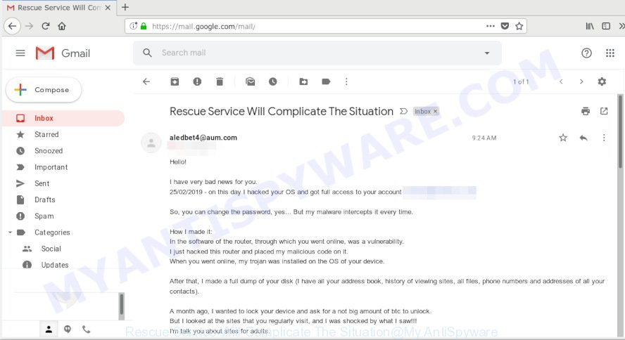 Rescue Service Will Complicate The Situation EMAIL SCAM