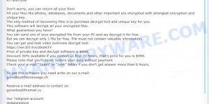 """gorentos@bitmessage.ch ransomware"" - ransom note"